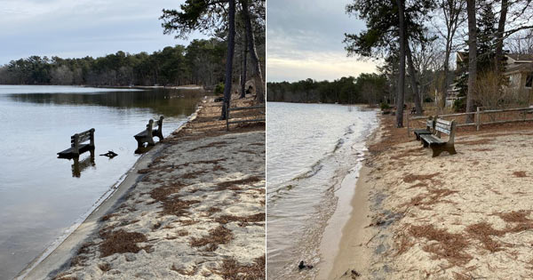 Before and after picture of AVPOI benches at Ashumet Pond Beach